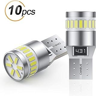 AGPTEK 10PCS W5W T10 Bombillas LED para auto 24 LED 3014 Chipset, W5W T10 Plug 194168, 6000K Bombillas de Repuesto Canbus ...