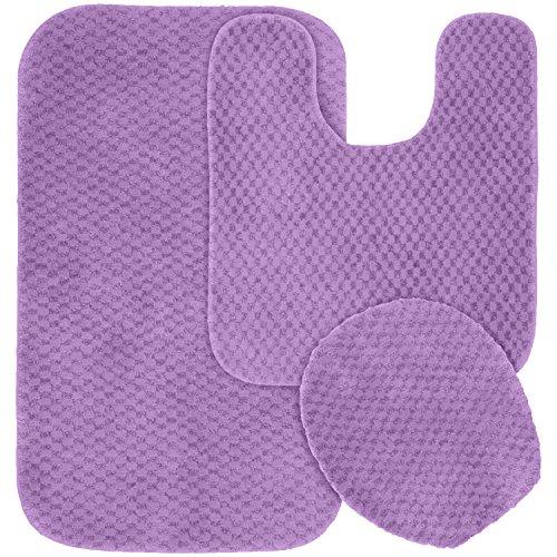 Garland Rug 3-Piece Cabernet Nylon Washable Bathroom Rug Set, Purple