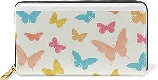 MASSIKOA Colorful Butterflies Womens Clutch Purses Organizer And Handbags Zip Around Wallet