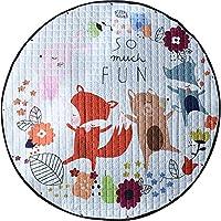 Umoraベビープレーマット おもちゃ収納袋 ベビー遊び 片付けマット 滑り止め 洗える 可愛い 出産祝い プレゼント 直径150cm(狐)