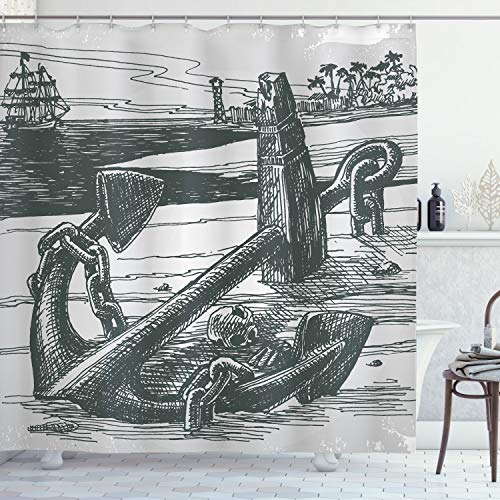 """Ambesonne Anchor Shower Curtain, Anchor with Skull by Exotic Island Shoreline Palm Trees Pirate Buccaneer Ship, Cloth Fabric Bathroom Decor Set with Hooks, 70"""" Long, Grey Black"""