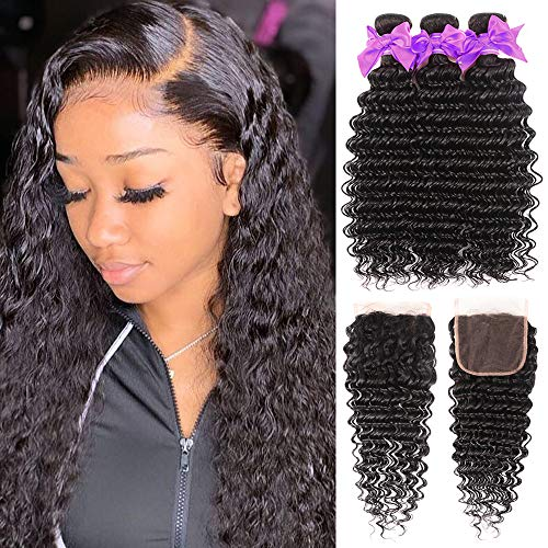Miss CARA Brazilian Virgin Hair Deep Wave Bundles with Closure 100% Unprocessed Deep Curly Human Hair Bundles (16 18 20 +14) Brazilian 3 Bundles Wet and Wavy Hair Free Part Natural Color