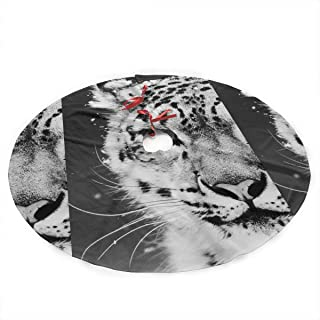 LALABULU Christmas Tree Skirt 35.5 Inches Xmas Tree Skirt Cool Snow Leopard Christmas Decorations Indoor Outdoor