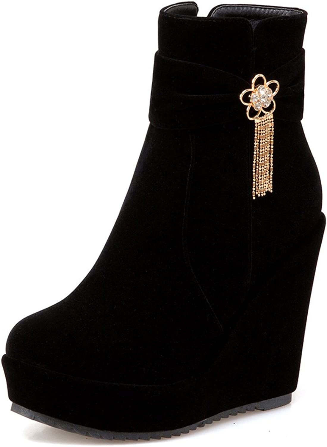 SaraIris Zipper Pendant Platform Increased Inside Solid Ankle Boots for Women