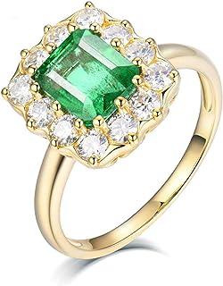 Daesar Anelli Oro Giallo Donna 18Kt, Anello Promessa Matrimonio Anello Aureola con Smeraldo 2ct Anelli in Oro Giallo Donna