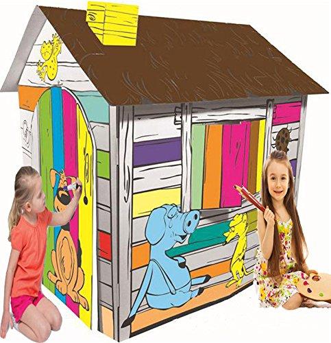 LITTLEFUN La mia casa da Gioco Pieghevole da colorare per Bambini DIY Giocattolo di Cartone Ondulato(Happy Farm Cottage)