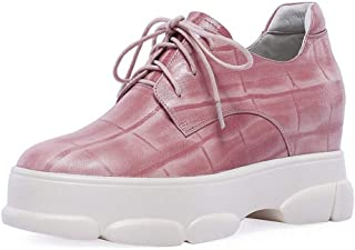 Women's Platform Shoes Leather Sports Shoes Round Head Casual Shoes Lace-Up Wedge Shoes Invisible Heightening Shoes Black Pink,Pink,42