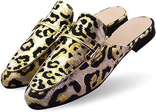 LULEX Women's Cozy Embroidered Loafers Indoor Outdoor Slip-On Slippers (FBA)