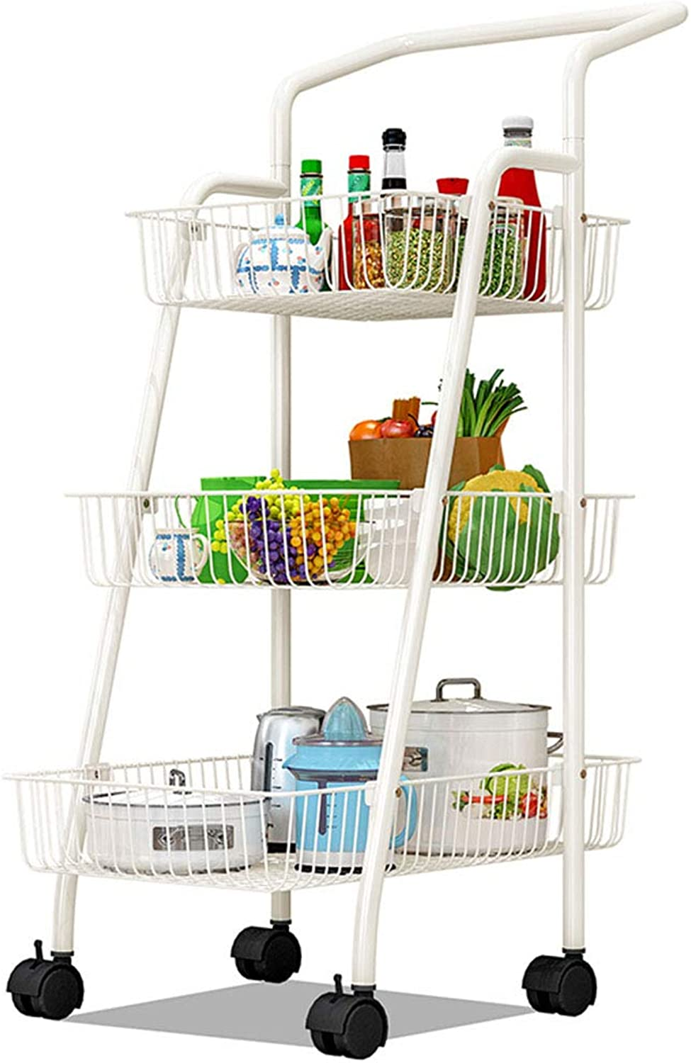XLong-Home Living Room Kitchen Movable Shelf Balcony Bedroom Storage Rack Floor with Pulley Hand Push Frame Trolley Rack (color   B)