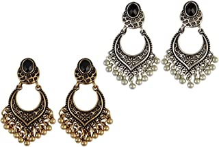 Baoblaze 2 Pairs Women Bohemian Jewelry Vintage Ethnic Gypsy Carven Dangle Earrings