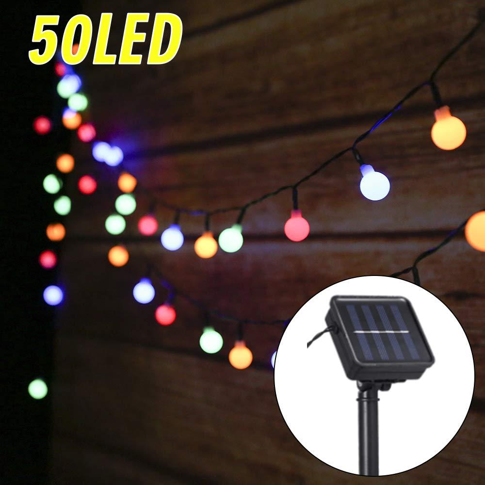 Guirnalda Luces Exterior Solar,Tomshine 50LED 6.9m Cadena de Luces Bolas Led Decorativas,IP44 Impermeable 8 Modos,Guirnaldas Luminosas para Exterior,Interior,Jardines Fiesta de Navidad (multicolor): Amazon.es: Iluminación