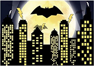 Funnytree 7x5ft Superhero Theme Birthday Party Backdrop for Photography Bat Night Buildings Cityscape Baby Boy Background Super Hero 1st First Event Banner Cake Table Decoration Photo Booth Props