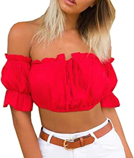 Best red flower off the shoulder top Reviews