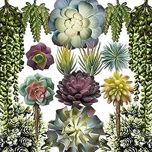 Caqpo Artificial Succulents – 15 Pack – Premium Unpotted Succulent Plants Artificial – Realistic Textured Succulents – Fake Succulent Plants for DIY – Faux Cactus Plant Bulk – Feaux Succulent Plants