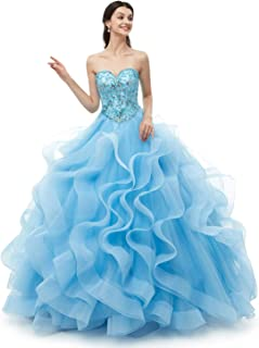 Quinceanera Dress Blue Prom Dresses Strapless Ball Gown Party Dress for Women