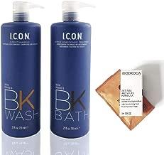ICON BK Wash D Frizz Shampoo & BK Bath D Frizz Conditioner 25 oz DUO (with Biotine, Keraveg 18 & Keravis)