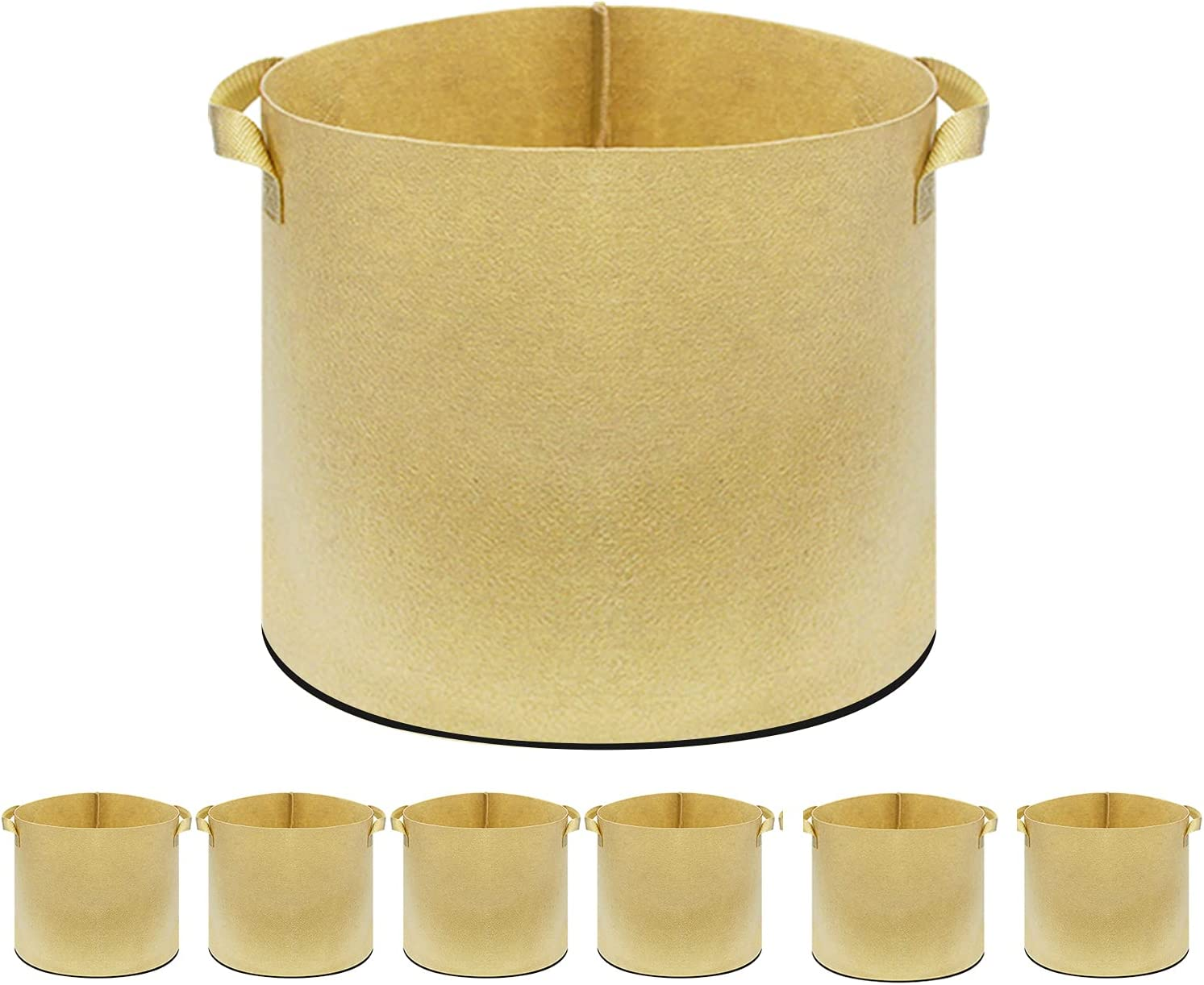 AIXI HOME 6 Pack 100Gallon Grow Ranking TOP10 New arrival Aeration Bags Fabr Tan Nonwoven
