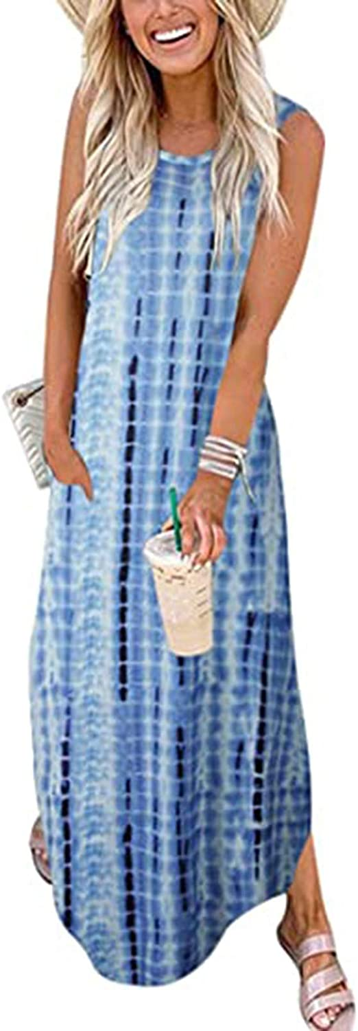 UQGHQO Dresses for Women,Women Crew Neck Summer Casual Pockets Sleeveless Loose Print Party Holiday Long Maxi Dress