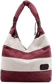 Hiigoo Stripes Stitching Canvas Bags Casual Shoulder Bag Large Shopping Bag Handbags