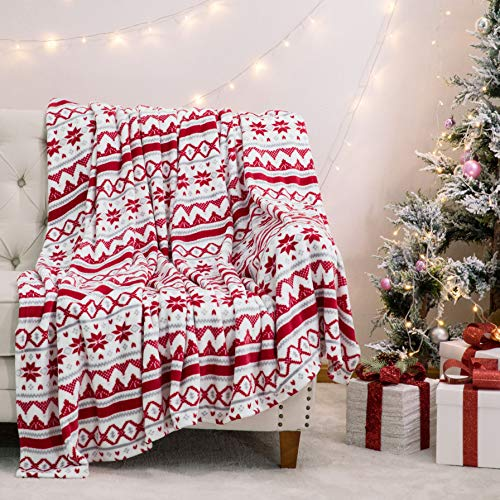 Bedsure Christmas Holiday Fleece Blanket Twin Size, Red and White Super Soft Plush Warm Winter Blanket for Bed, Couch and Gifts,Christmas Traditional Snowflake Pattern, 60 x 80 inches