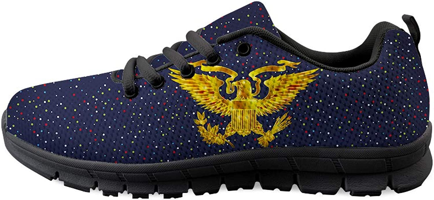 Owaheson Lace-up Sneaker Training shoes Mens Womens Glowing gold Presidential Seal