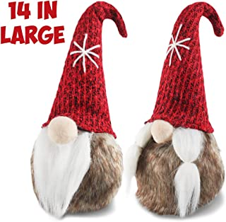 Meriwoods Plush Tomte Gnome Couple, 14 Inches Red Swedish Nisse with Faux Fur, Scandinavian Christmas Decorations, Santa Doll Ornaments for Nordic Holiday Decor, Xmas Gift for Family Friends Kids