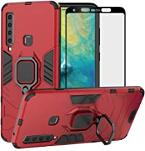 BestAlice for Samsung Galaxy A9 2018 / A9 Star Pro / A9S case, Hybrid Heavy Duty Protection Shockproof Defender Kickstand Armor Case Cover Tempered Glass Screen Protector, Red