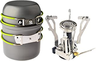 Petforu Camp Stove, Ultralight Portable Outdoor Camping Stove Hiking Backpacking Picnic Cookware Cooking Tool Set Pot Pan ...