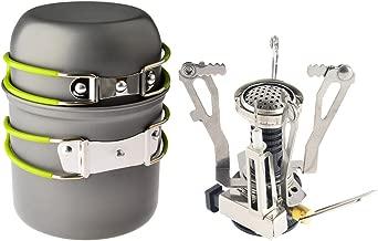 Petforu Camp Stove, Ultralight Portable Outdoor Camping Stove Hiking Backpacking Picnic Cookware Cooking Tool Set Pot Pan & Piezo Ignition Canister Stove