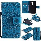 Guran® Custodia in Pelle per LG Magna/LG G4 Mini/LG G4c 5' Smartphone Avere Carta Slot Supporto Protettiva Flip Case Cover-Blu
