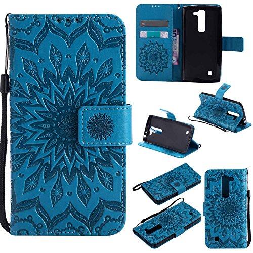 pinlu® PU Leder Tasche Etui Schutzhülle für LG G4c(5zoll)/LG Magna Lederhülle Schale Flip Cover Tasche mit Standfunktion Sonnenblume Muster Hülle (Blau)