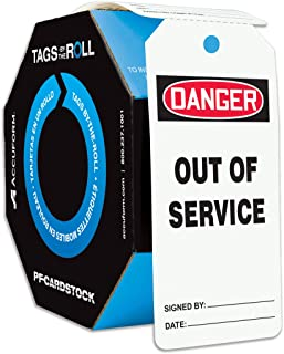 """Accuform Signs TAR118 Tags By-The-Roll Safety Tags, Legend""""DANGER OUT OF SERVICE"""", 6.25"""" Length x 3"""" Width x 0.010"""" Thickness, PF-Cardstock, Red/Black on White (Roll of 100)"""