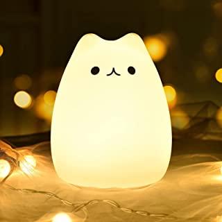 GoLine Cat LED Baby Kids Night Light Cute Multicolor Silicone Soft Kitty Nursery Lamp for Children Toddler Boys Girls Tap ...