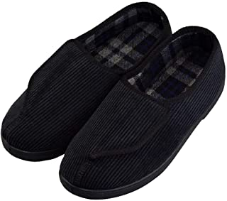 VLLY Mens Diabetic Slippers, Extra Wide Width Ajustable Comfortable House Shoes with Memory Foam and Non-Skid Rubber Sole for Edema, Swollen Feet Elderly Seniors