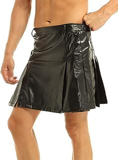 Freebily Mens Scottish Traditional Highland Dress Utility Kilt Combat PU Leather Scotland Skirt