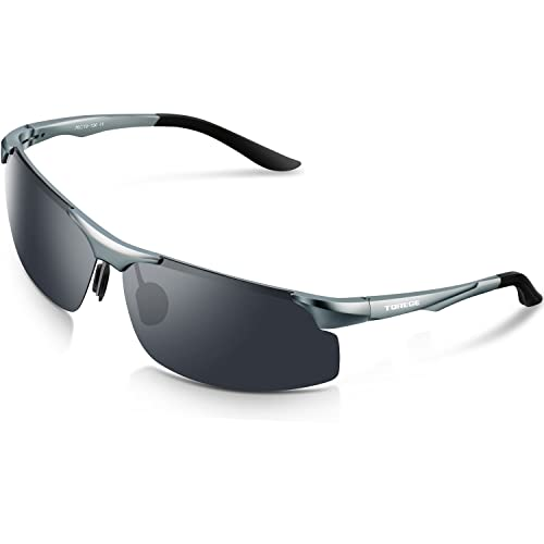 5627151c4dac TOREGE Men s Sports Style Polarized Sunglasses Al-Mg Metal Frame Glasses  M291