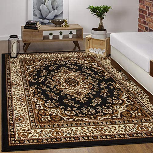 Best Antep Rugs Kashan King Collection Himalayas Oriental Polypropylene Indoor Area Rug (Black and Beige,