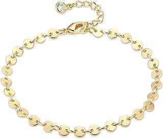 Women Anklet,Befettly Handmade 14k Gold Plated Dainty Tassel Anklet Cute Colorful Beads Summer Ankle Bracelet Boho Beach Foot Chain