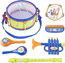 iPlay، iLearn Toddler Musical Instrument Toys، اسباب بازیهای درام کودکان، سازهای کوبه ای، Tambourine، Trumpet، Maraca، Harmonica، Flute، هدیه یادگیری ریتم برای 18 ماه 1 2 3 4 5 ساله بچه ها پسر بچه ها دختران