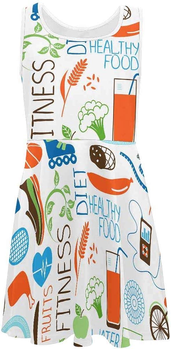 InterestPrint Girls Sleeveless Dress Summer Round Neck Dress Splatter Background (2T-XL)