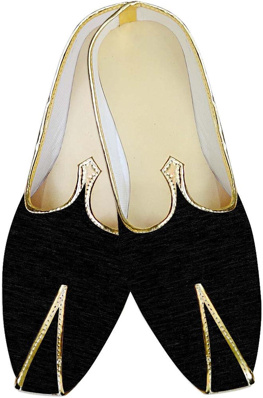 INMONARCH Mens Black Jute Velvet Wedding shoes Ethnic MJ014129