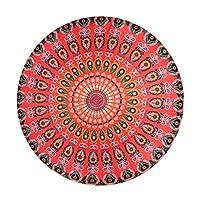 (ウォ2U) Woo2u 可愛い 孔雀羽 花柄 ヨガ レジャー ボヘミアン ビーチ マット ビーチ タオル お部屋インテリア 円形 スカーフ ピクニック 海辺シート 大判 バスタオル マフラー 赤色