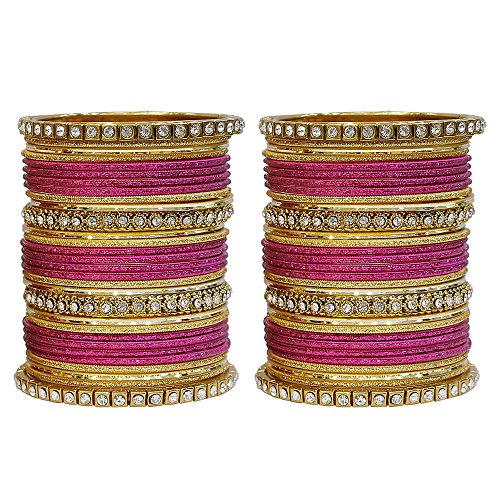 MUCH-MORE Fabulous Collection Of Multi Color Crystal Bangles Set Indian Jewellery for Women's (H-Pink, 2.8)