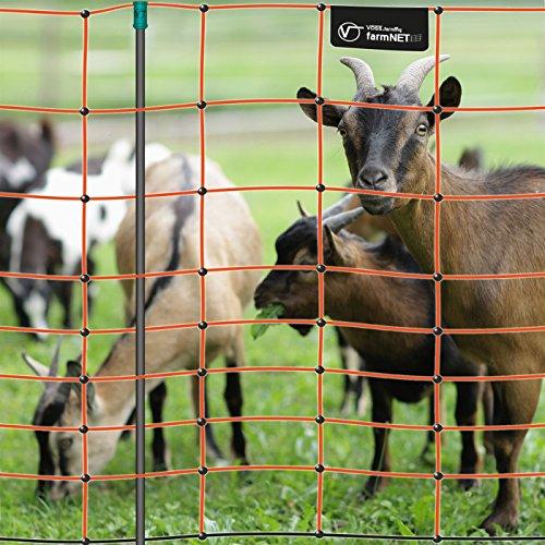 VOSS.farming Premium Elektronetz 108cm farmNET® 50m Schafzaun Ziegennetz 14 Pfähle 2 Spitzen orange