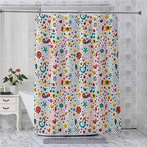 Cortina de ducha con ganchos, corazones sonrientes estrellas puntos notas musicales personajes felices alegres composición, 84 pulgadas de largo, accesorios de baño modernos, multicolor