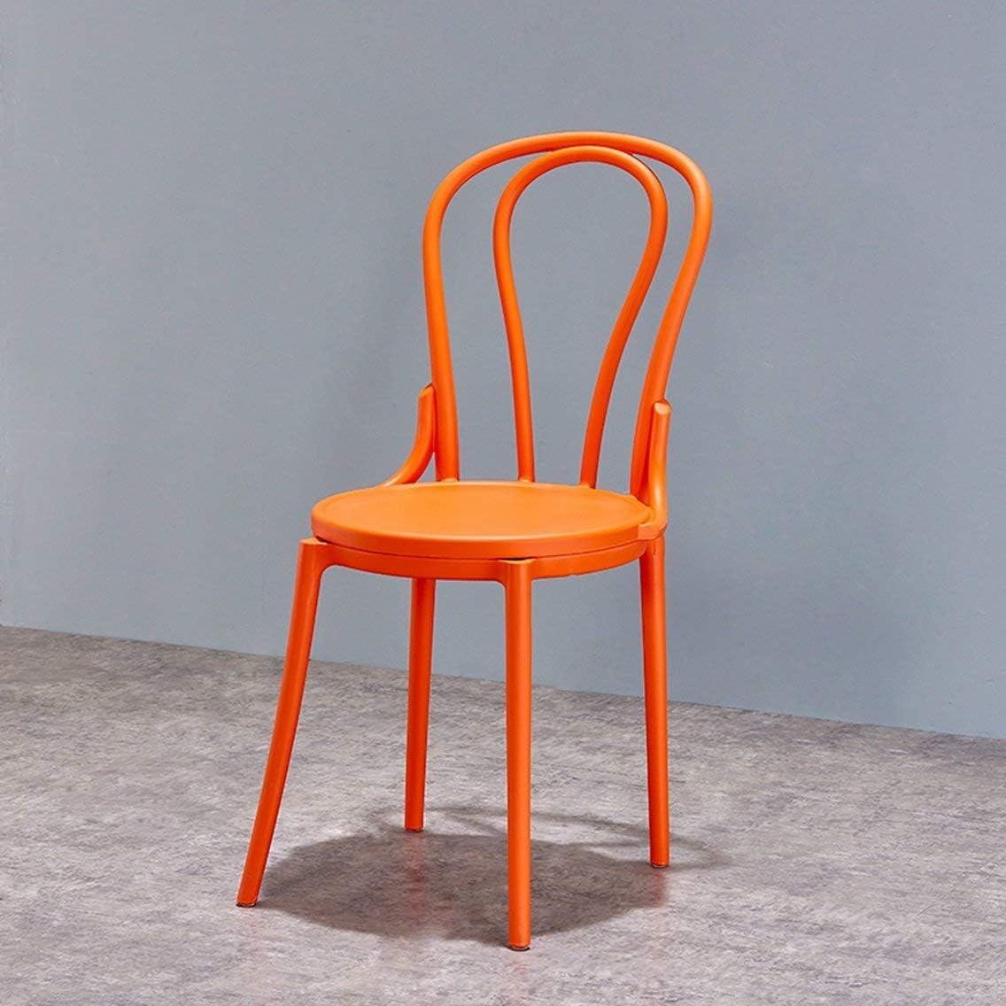 QNN Accueil Moderne Minimaliste Casual Chaise de Salle À Manger Créative Maison Mode Café Retour En Plastique Chaise Adulte Chaise,Rouge Orange