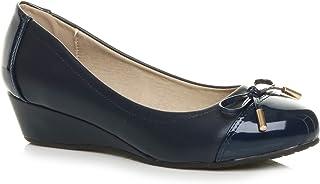 Ajvani Women's Mid Wedge Heel Bow Ballerina Court Shoes Pumps Size