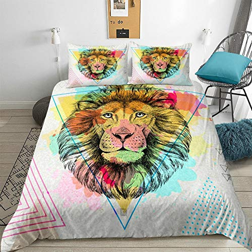 ZHOUBIN Duvet Cover Sets Animal lion 3D Bedding Set Print Comfortable Soft Bedding Set with Zipper-UK Single 140x200CM