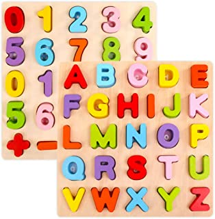 Alphabet Puzzle Set, WOOD CITY ABC Letter & Number Puzzles for Toddlers 1 2 3 Years Old, Educational Learning Toys for Kids Gift for Boys and Girls (2 Pack)