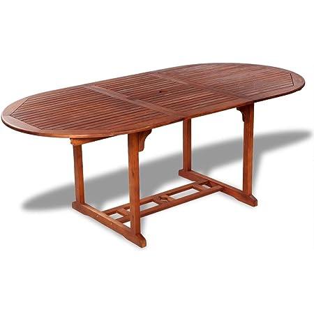 Tidyard Table de Salle à Manger Extensible en Bois Dur d'Acacia Style Naturel (150-200) x 100 x 74 cm